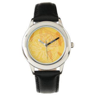 Relógio De Pulso Limões amarelos brilhantes teste padrão tirado do