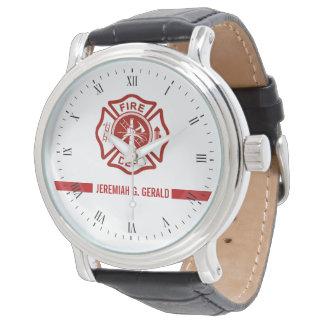 Relógio De Pulso Linha vermelha fina sapador-bombeiro conhecido