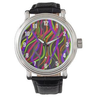 Relógio De Pulso Linhas Squiggly elétricas de cores brilhantes no