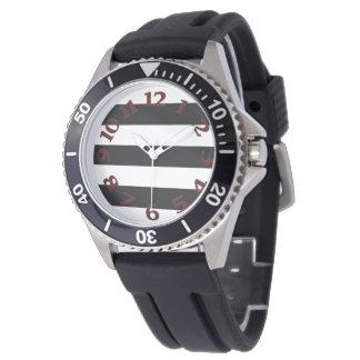 Relógio De Pulso Listras brancas pretas
