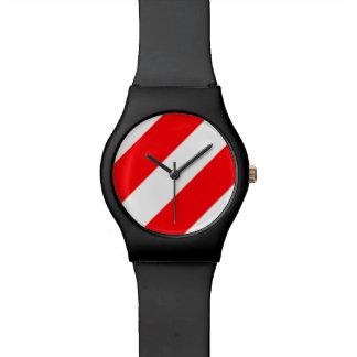 Relógio De Pulso Listras vermelhas e brancas do Natal de doces do