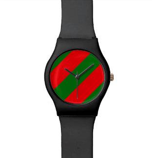 Relógio De Pulso Listras vermelhas e verdes de Candycane do Natal
