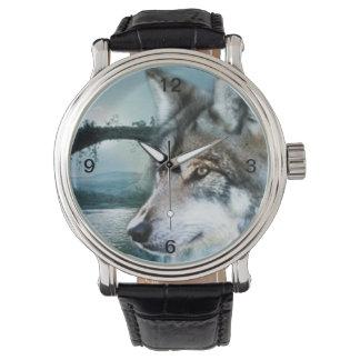 Relógio De Pulso lobo da Lua cheia do luar da floresta da floresta