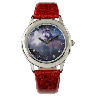 Relógio De Pulso Lobo da lua - lobo cinzento - lobo selvagem - lobo