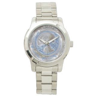 Relógio De Pulso Luz das cinzas de prata - arte geométrica azul do