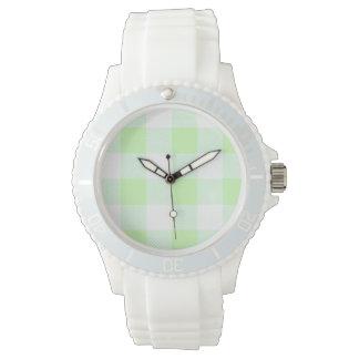 Relógio De Pulso luz - teste padrão verde da verificação do guingão