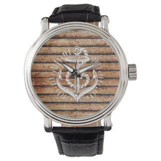 Relógio De Pulso Madeira náutica velha da âncora