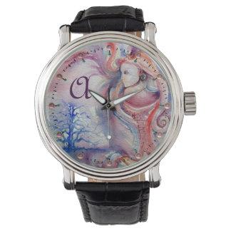 Relógio De Pulso Mágica de AVALON & monograma azul da fantasia de