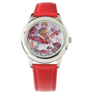 Relógio De Pulso MÁGICA FOLLET da fantasia floral branca vermelha