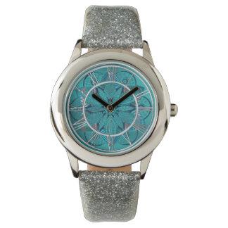Relógio De Pulso Mandala da flor de Lotus do verde azul