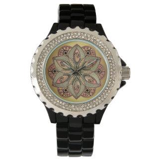 Relógio De Pulso Mandala Mystical da flor de Lotus do ouro