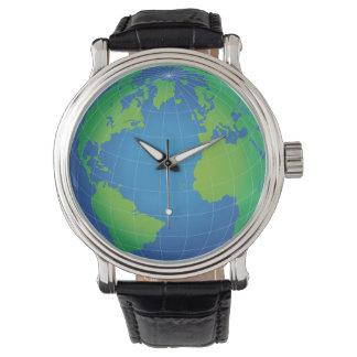 Relógio De Pulso Mapa do globo do mundo
