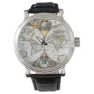 Relógio De Pulso Mapa do mundo antigo por Hendrik Hondius, 1630