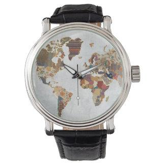 Relógio De Pulso Mapa do mundo do teste padrão