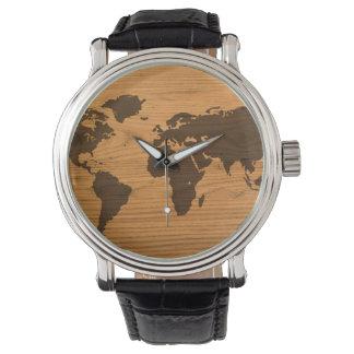 Relógio De Pulso Mapa do mundo na grão de madeira