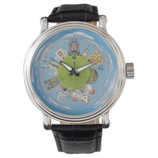 Relógio De Pulso marco pequeno minúsculo do planeta de romania da