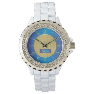 Relógio De Pulso Marinho, azul e ouro