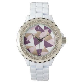 Relógio De Pulso mármore cor-de-rosa elegante do rosa da folha de
