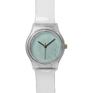 Relógio De Pulso mármore, hortelã, ouro, moderno, na moda, bonito,