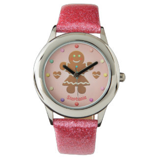 Relógio De Pulso Menina bonito do pão-de-espécie com nome editável