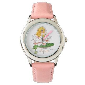 Relógio De Pulso Menina floral bonito feericamente da criança de