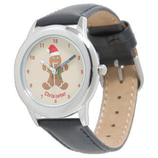 Relógio De Pulso Menino feliz do pão-de-espécie com chapéu do papai