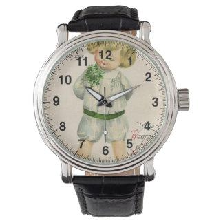 Relógio De Pulso Menino louro pequeno bonito dos cumprimentos de St