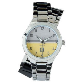 Relógio De Pulso Monograma amarelo e cinzento do tom dois simples