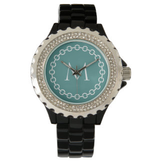 Relógio De Pulso Monograma branco do círculo do anel do elo de