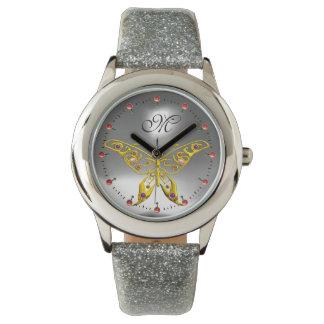 Relógio De Pulso Monograma cinzento de pedra preciosa da BORBOLETA