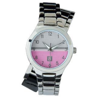 Relógio De Pulso Monograma cor-de-rosa e cinzento do tom dois