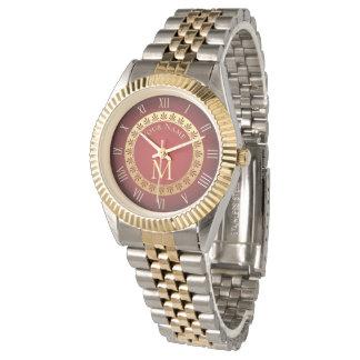Relógio De Pulso Monograma do costume do estilo romano
