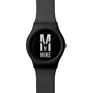 Relógio De Pulso Monograma e nome personalizados modernos