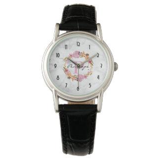 Relógio De Pulso Monograma floral cor-de-rosa bonito da grinalda