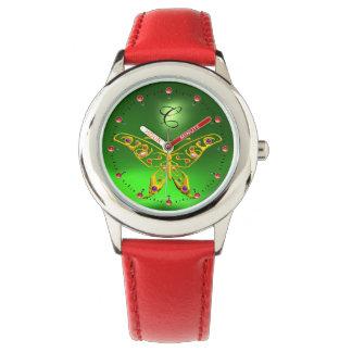 Relógio De Pulso Monograma HYPER do verde esmeralda da BORBOLETA do
