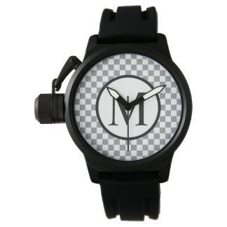 Relógio De Pulso Monograma simples com tabuleiro de damas cinzento