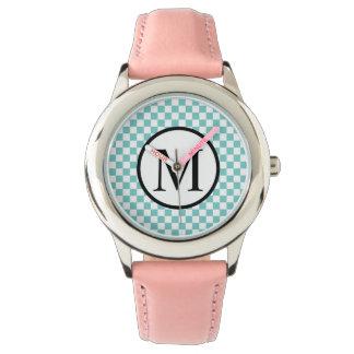 Relógio De Pulso Monograma simples com tabuleiro de damas do Aqua