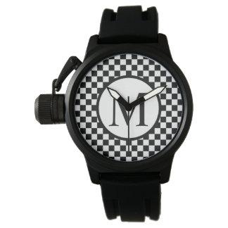 Relógio De Pulso Monograma simples com tabuleiro de damas preto