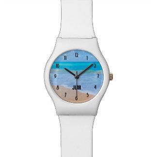 Relógio De Pulso Monograma tropical da foto da cena da praia