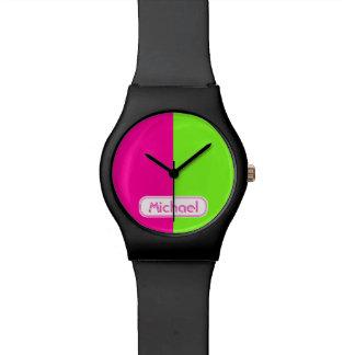 Relógio De Pulso Monograma verde cor-de-rosa de néon brilhante