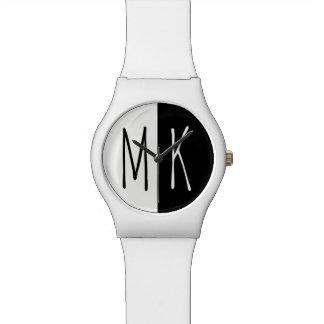 Relógio De Pulso Monogrammed monótonos rachado