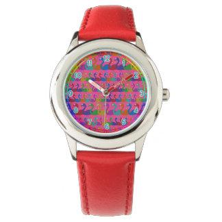 Relógio de pulso Multi-Colorido do flamingo