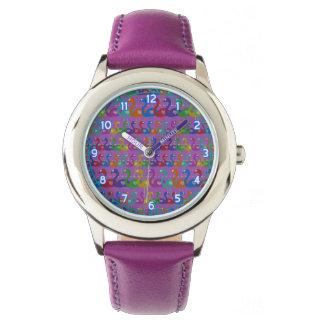 Relógio de pulso Multi-Colorido do flamingo com
