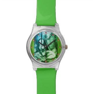 Relógio De Pulso MÚSICA que FAZ o CAT COM verde da CORUJA