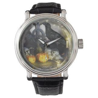 Relógio de pulso Mystical da arte do corvo