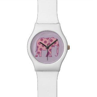 Relogio De Pulso Na moda elegante da silhueta cor-de-rosa floral do