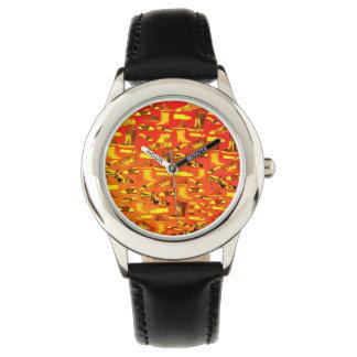 Relógio De Pulso Na moda engraçado de néon do teste padrão dos