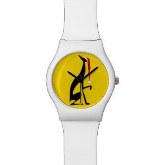 Relógio De Pulso Natal gracioso corajoso amarelo do cão preto do