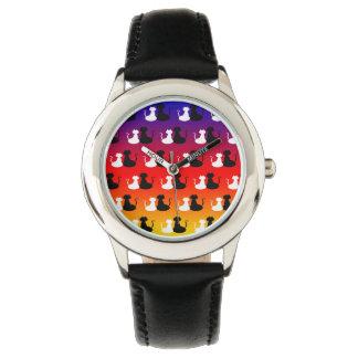 Relógio De Pulso Néon na moda vibrante do teste padrão do amor do