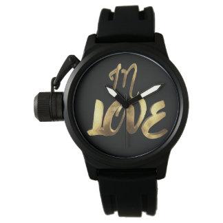 Relógio De Pulso No roteiro romântico da tipografia do olhar do